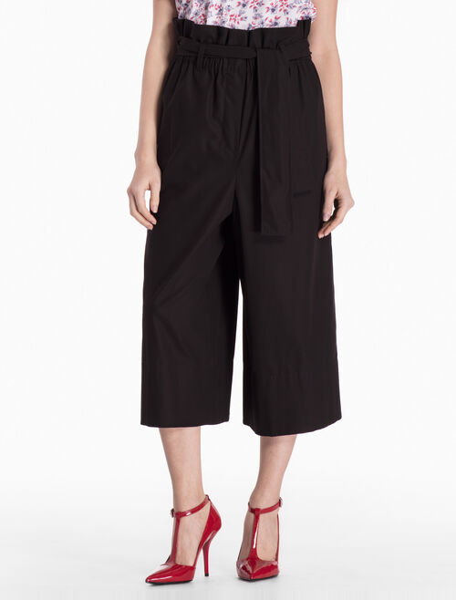 CALVIN KLEIN WOVEN WIDE LEG PANTS WITH TIE BELT