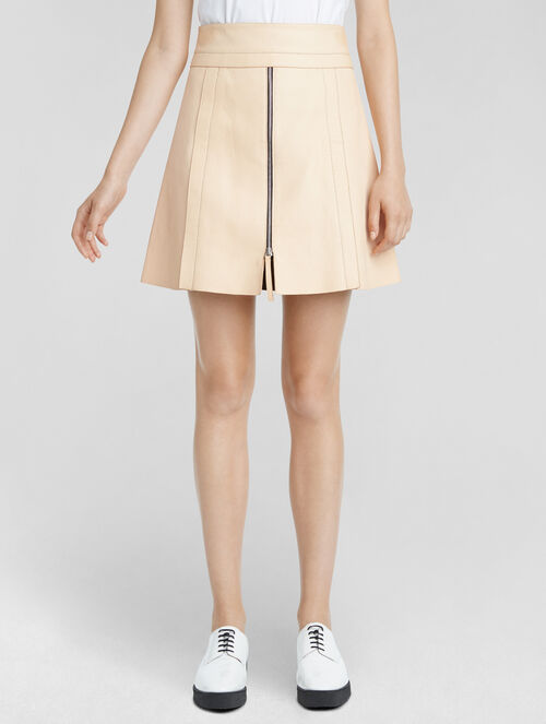 CALVIN KLEIN VACHETTA LEATHER PANEL MINI SKIRT