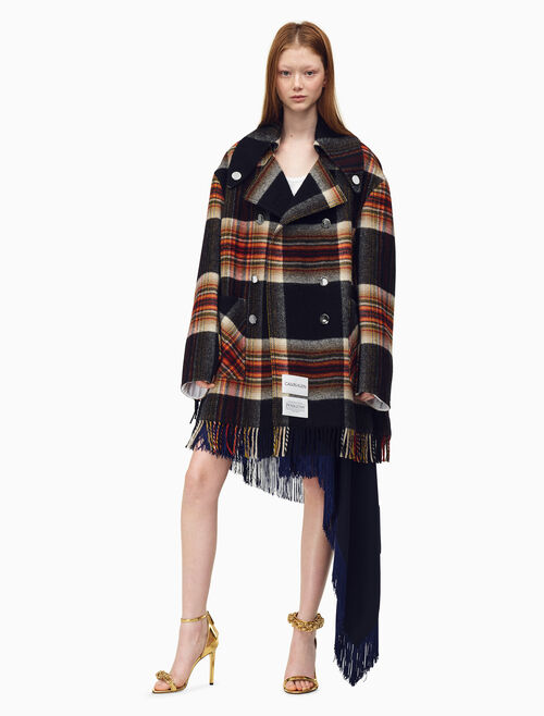 CALVIN KLEIN Boxy Fringed Caban In Pendleton Multicolor Plaid Wool