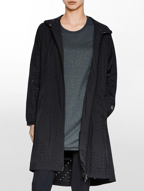 CALVIN KLEIN PERFORATED HOODED LONG WIND LIGHT WEIGHT JACKET