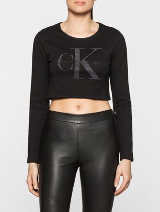 CALVIN KLEIN REBEL EDGE LOGO CROPPED TOP