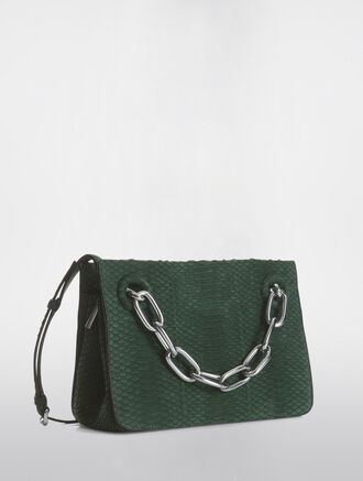 CALVIN KLEIN FLARED SMALL SATCHEL WITH CHAIN