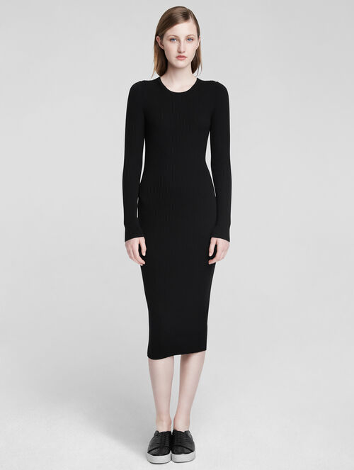 CALVIN KLEIN CASHMERE CLASSIC LONG SLEEVE TEE DRESS