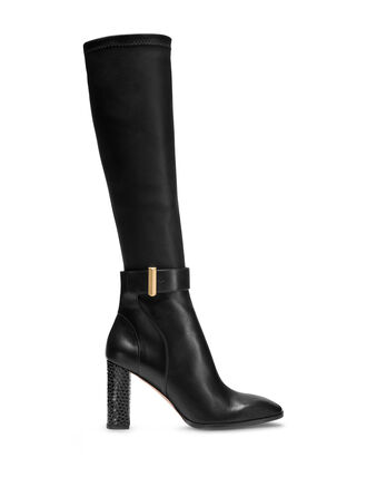 CALVIN KLEIN STRETCH HI BOOT WITH BRUSHED CLASP