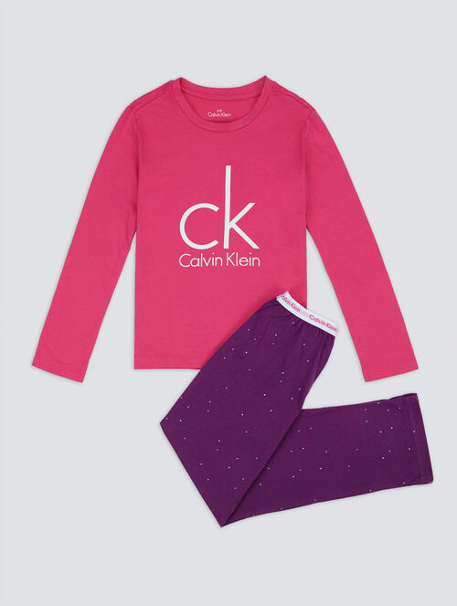 CALVIN KLEIN KIDS MODERN COTTON KNIT PAJAMA SET WITH BAG - GIRLS