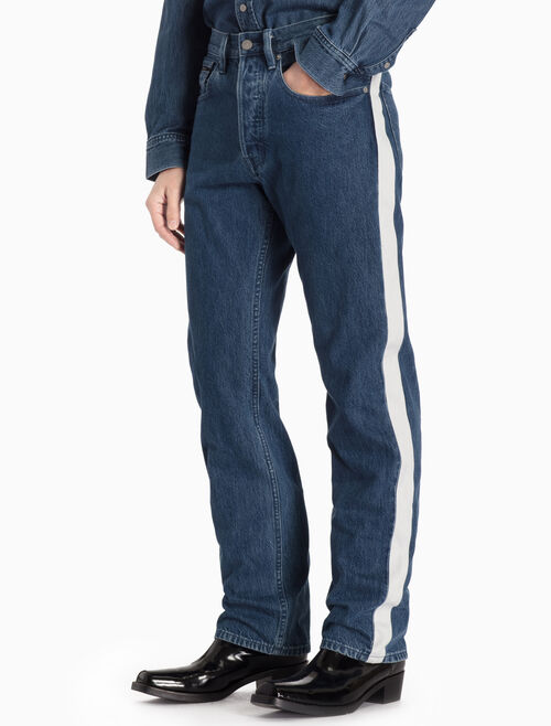 CALVIN KLEIN HIGH-RISE STRAIGHT TAPERED JEANS WITH STRIPES