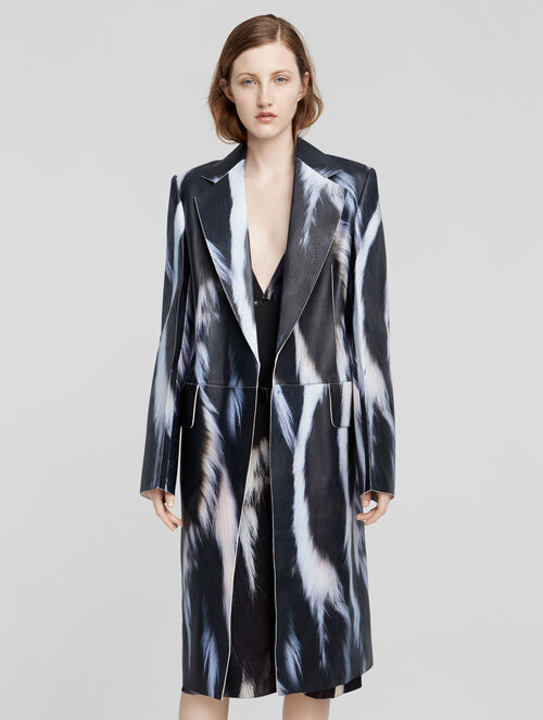 CALVIN KLEIN LEATHER SKUNK PRINT COAT