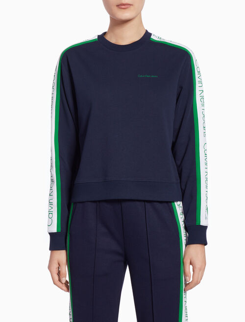 CALVIN KLEIN SIDE STRIPE SHORT SWEATSHIRT