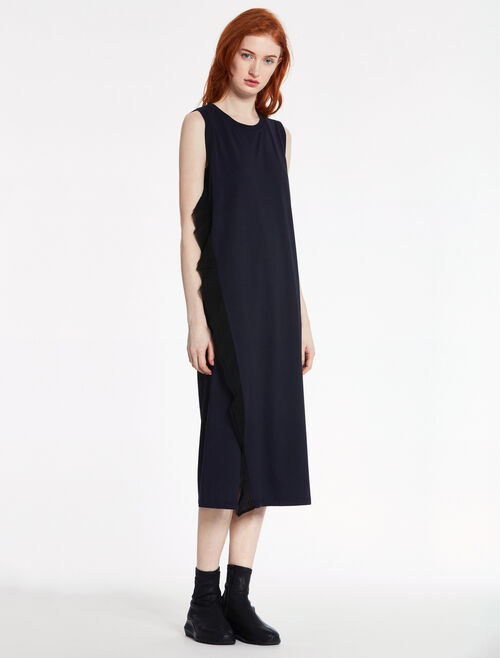 CALVIN KLEIN SOFT COTTON JERSEY Short Sleeves RUFFLE FRONT DRESS