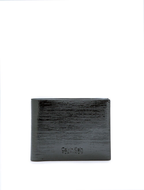CALVIN KLEIN TEXTURED PATENT LEATHER BILLFOLD WALLET