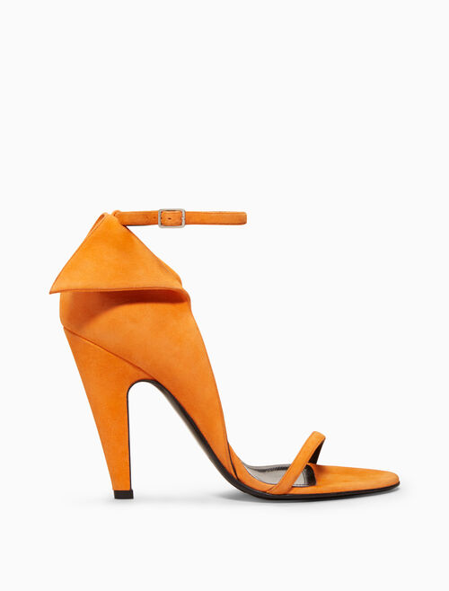 CALVIN KLEIN high-heeled deco sandal in suede