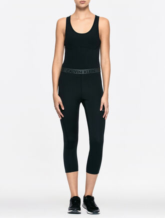 CALVIN KLEIN LOGO WAISTBAND LOW IMPACT BODYSUIT WITH CUP