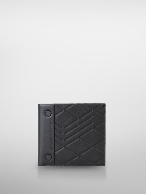 CALVIN KLEIN LOGO EMBOSS LEATHER BILLFOLD WITH COIN CASE