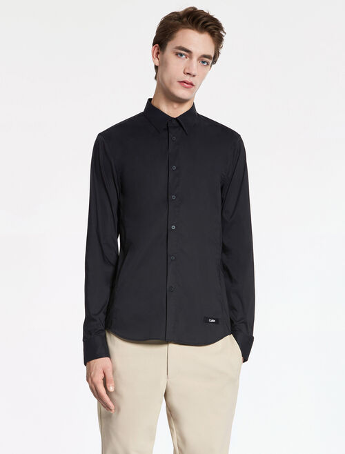 CALVIN KLEIN NEW FINE STRETCH POPLIN LS SHIRT - LOGO TAPE