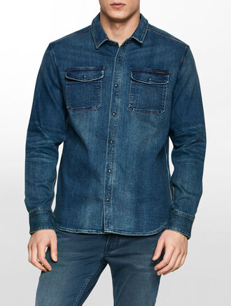 CALVIN KLEIN SELVEDGE BLUE DIAMOND SHIRT JACKET