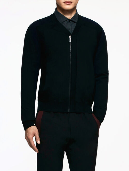 CALVIN KLEIN EXTRAFINE WOOL ZIP UP COLOR BLOCK CARDIGAN