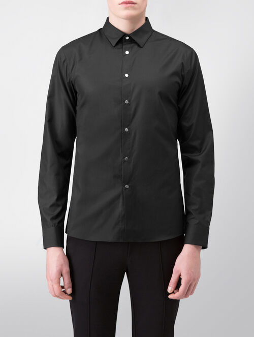CALVIN KLEIN REFINED POPLIN LONG SLEEVES SHIRT WITH SNAP BUTTONS( SA-XTREME FIT )