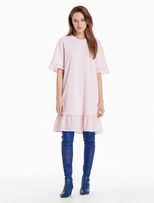 CALVIN KLEIN KNITTED RUFFLE T-SHIRT DRESS
