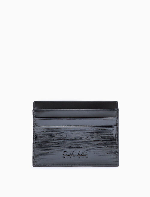 CALVIN KLEIN TEXTURED PATENT LEATHER CARD CASE