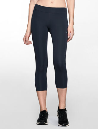 CALVIN KLEIN CROPPED LENGTH LEGGINGS WITH CLASSIC CK LOGO WAISTBAND