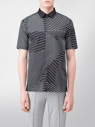 CALVIN KLEIN IRREGULAR PRINTED VOILE SHORT SLEEVES SHIRT ( SEAN FIT )