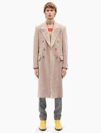CALVIN KLEIN double-breasted moleskin overcoat