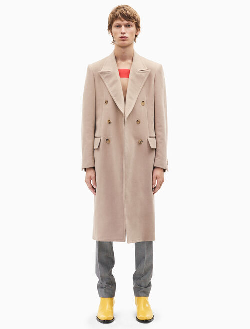 CALVIN KLEIN double-breasted moleskin overcoat