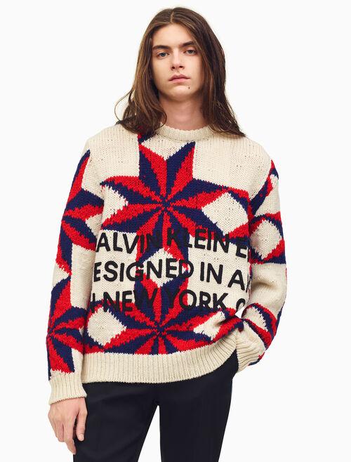 CALVIN KLEIN 刺繡絎縫風格毛衣
