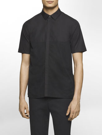 CALVIN KLEIN MESH/POPLIN COMBO SHORT SLEEVES SHIRT( SEAN FIT )