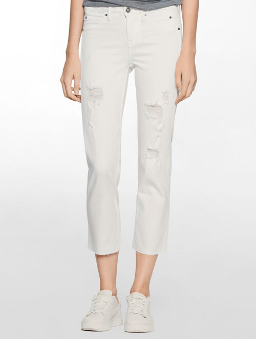 CALVIN KLEIN SCULPTED INIFINITE WHITE STRAIGHT JEANS