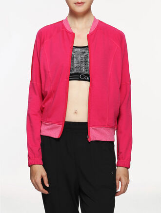 CALVIN KLEIN FABRIC MIX SWEAT JACKET
