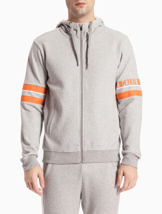 CALVIN KLEIN HOODED SWEAT JACKET WITH SLEEVE STRIPE