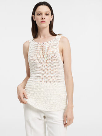 CALVIN KLEIN CHUNKY COTTON OPEN STITCH TANK TOP