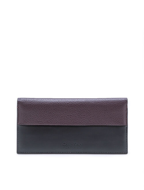 CALVIN KLEIN COLORBLOCK LEATHER LONG FLAP WALLET