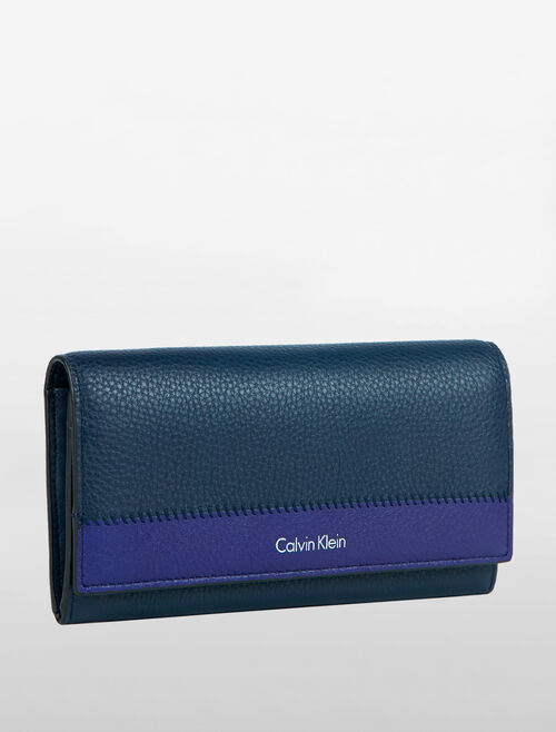 CALVIN KLEIN BICOLOR SOFT LONG FOLD WALLET
