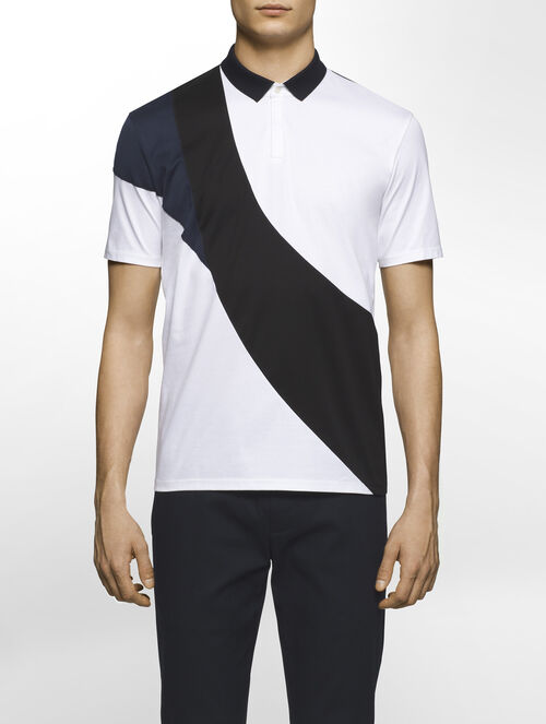 CALVIN KLEIN CERAMIC INTERLOCK SHORT SLEEVES POLO - WAVE( C-SLIM FIT )