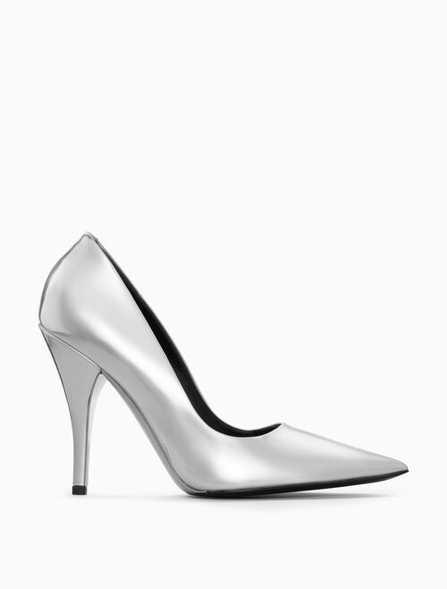 CALVIN KLEIN HIGH-HEELED PUMP IN METALLIC LEATHER