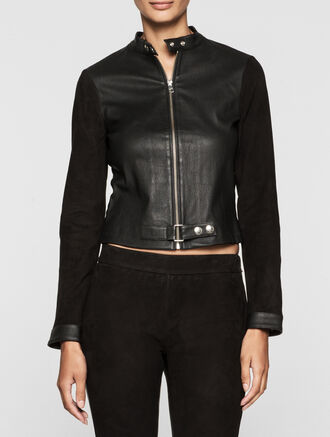 CALVIN KLEIN REBEL EDGE LEATHER BIKER JACKET