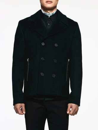 CALVIN KLEIN DENSE FELT TAILORED PEA COAT