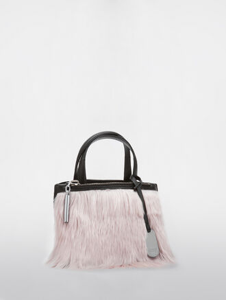 CALVIN KLEIN EDGED MICRO TOTE WITH FUR