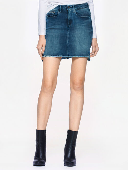 CALVIN KLEIN AMPLIFIED INDIGO HI-LOW MI SKIRT