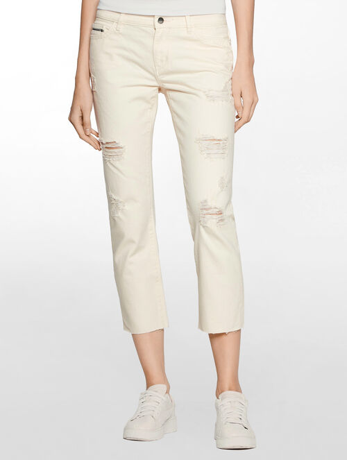 CALVIN KLEIN DESTRUCTED ROSE MID RISE STRAIGHT CROPPED JEANS