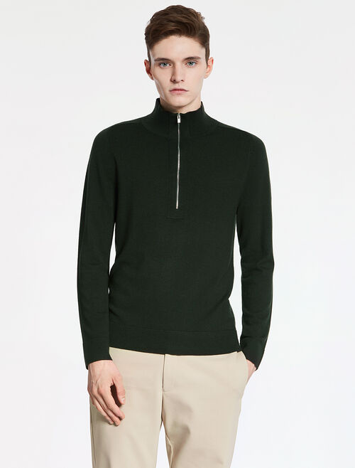CALVIN KLEIN EXTRAFINE WOOL Long Sleeves HALF ZIP TOP