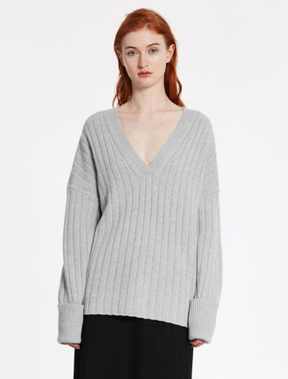 CALVIN KLEIN SOFT WOOL CASHMERE RIBBED Long Sleeves TOP