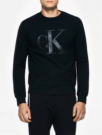 CALVIN KLEIN CALVIN TRACK MEN LONG SLEEVES SHRUNKEN CREW NECK
