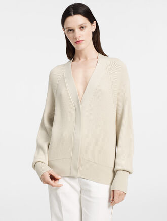 CALVIN KLEIN RIBBED CASHMERE OVERSIZED CARDIGAN