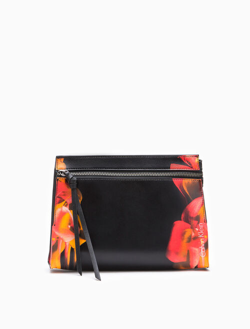 CALVIN KLEIN FLORAL ANAGLYPH CITY RAW CLUTCH