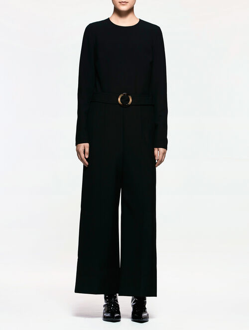 CALVIN KLEIN DOUBLE WEAVE STRETCH LONG SLEEVES WIDE LEG JUMPSUIT