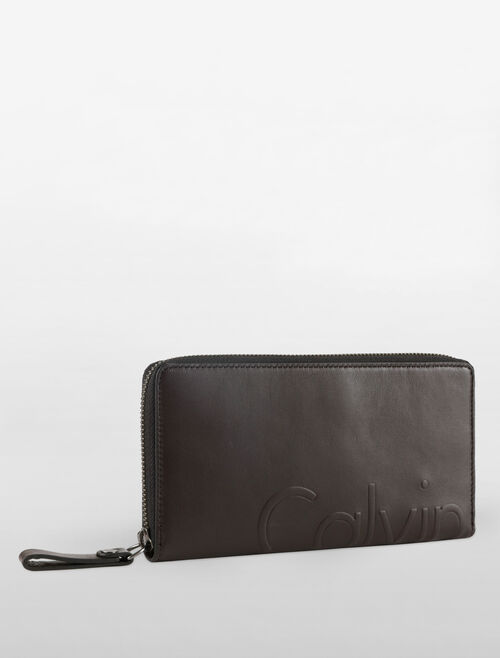 CALVIN KLEIN LOGO DEBOSS LONG ZIP AROUND WALLET