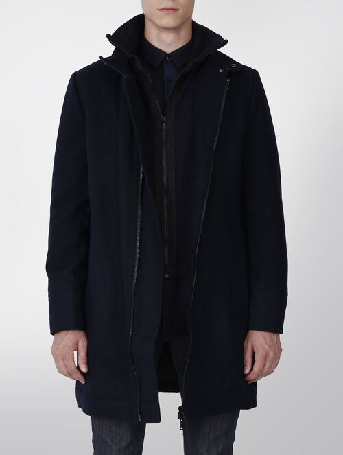 CALVIN KLEIN MELTON WOOL LONG COAT